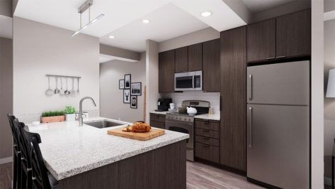 Apartment kitchen render at The Standard at Berkeley