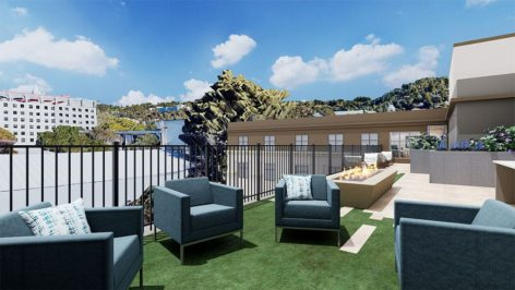 Outdoor lounge space at The Standard at Berkeley