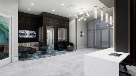 Leasing lobby render at The Standard at Berkeley