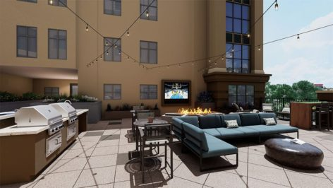 TV Courtyard render at The Standard at Berkeley