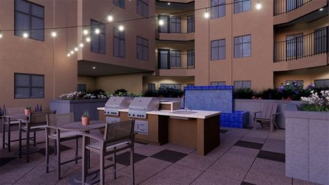 Courtyard and grill render at The Standard at Berkeley