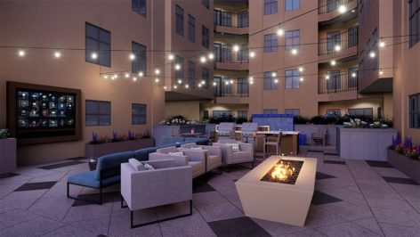 Courtyard and fire pit render at The Standard at Berkeley
