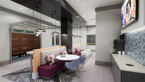 Clubroom coffee bar render at The Standard at Berkeley